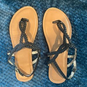 Merona Black Strappy Braided Sandals